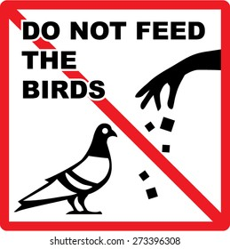 Do not feed the birds Sign Vector