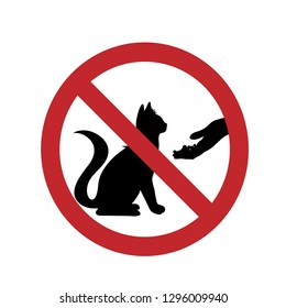 Do not feed the cat ban mark on a white background.
