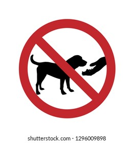 Do not feed the dog ban mark on a white background.