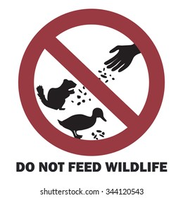 """Do not feed wildlife"" sign, vector illustration"