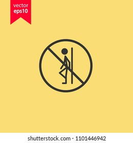 Do not lean icon. Forbidden icon. Prohibited icon.  Yellow background. EPS 10 vector sign.