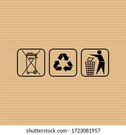 Do not litter flat vector sign. Garbage container flat vector icon. Recycled package vector icon