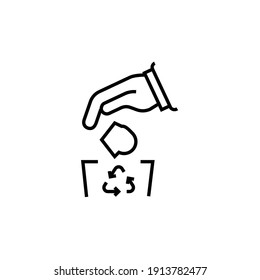 Do not litter icon. Throws garbage vector illustration. Isolated contour of rubbish on white background. Editable stroke