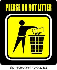 Do not litter, icon vector
