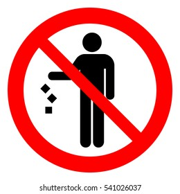 Do not litter, keep it clean, prohibition sign. Vector illustration.