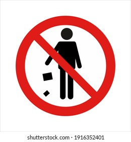 Do Not Litter Prohibition of Littering Sign Isolated Vector