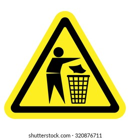 Do not litter sign. Silhouette of a man, throwing garbage in a bin, isolated on yellow background. No littering symbol in triangle. Public Information Icon. Vector