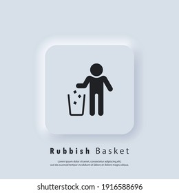 Do not litter sign. Trash can icon. Rubbish basket. Vector EPS 10. UI icon. Neumorphic UI UX white user interface web button. Neumorphism