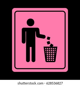 Do not litter sign. Vector. Pink icon on black background.
