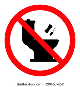 Do not litter in toilet icon. Keep clean sign. No littering warning symbol. Vector