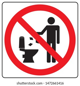 Do not litter in toilet icon. Keep clean sign. Silhouette of a man, throw garbage in a bin, in square isolated on white background. No littering in red circle. Vector illustration