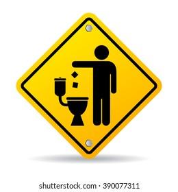 Do not litter in toilet icon illustration on white background