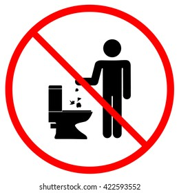 Do not litter in toilet sign. No throw in toilet symbol in red circle. Silhouette man on white background. Flat vector image. Vector illustration.