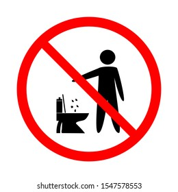 Do not litter in toilet. Silhouette person on white background in red circle. No throwing garbage mark. Take care of clean nature symbol. Flat vector image. Vector illustration