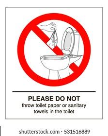Do not litter in toilet. Vector illustration.