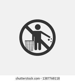 Do not litter vector icon solid grey