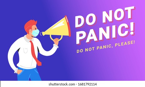 Do not panic concept vector illustration of man wearing medical mask and shouting into megaphone to stop massive panic regarding covid-19. Gradient design of coronavirus pandemic with copyspace