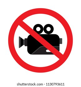 Do not record video sign symbols prohibition vector icon illustration isolated on white background.