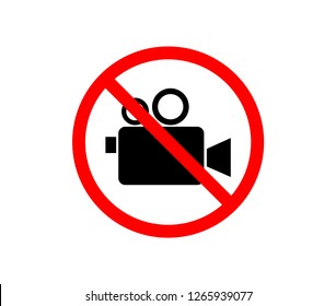 Do not record video sign. Red prohibition sign. Stop symbol. Using camera is not allowed image. vector illustration