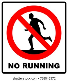 Do not run, prohibition sign. Running prohibited, vector illustration.