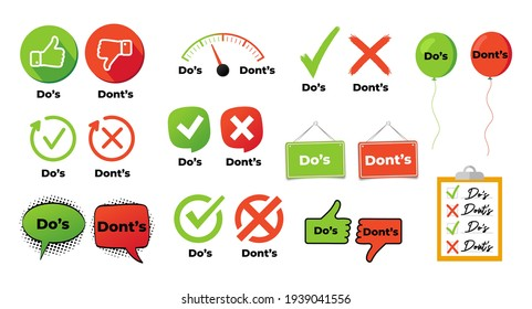 Do and not do set or like and unlike icons with positive and negative symbols vector illustration eps 10