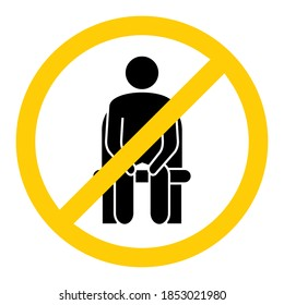 Do not sit here. Forbidden seating, icon. Keep social distance to prevent infection with the coronavirus. Distancing sitting. Keep your distance when you are sitting. Man on the chair. Vector