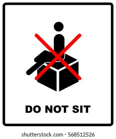 DO NOT SIT packaging symbol on a corrugated cardboard background. For use on cardboard boxes, packages and parcels. Vector illustration.