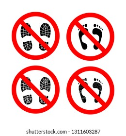 Do not step glyph vector icons set. Forbidden sign with imprint shoes and bare footprint. Stop cliparts. No shoes prohibition. Warning isolated signs collection. No outdoor footwear silhouette symbols