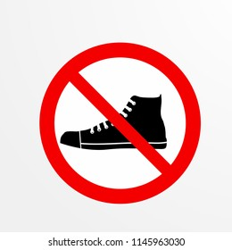 do not take a shoes caution warn symbol for public transport areas to do not do that. vector logo, sign, symbol