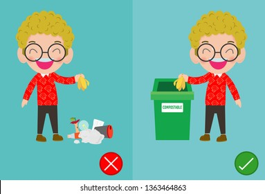 Do not throw littering butts on the floor,wrong and right, male character that tells you the correct behavior to recycle, vector illustration.