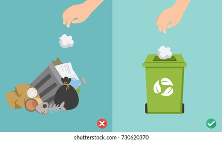 Do not throw littering butts on the floor,wrong and right.vector illustration