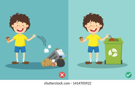 Do not throw littering on the floor,wrong and right.vector illustration
