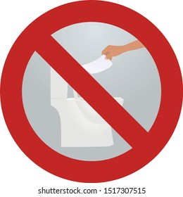 Do not throw paper to toilette sign. vector