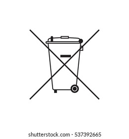 Do not throw in trash. Trash bin icon