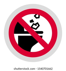 Do Not Throw Trash or Paper Towels in Toilet forbidden sign, modern round sticker