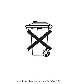 Do not throw in trash. Recycle bin sign icon