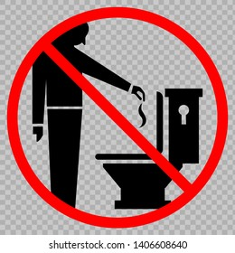 Do not throw trash in the toilet icon. Vector