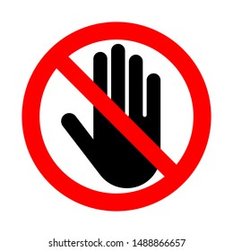 Do not touch symbol on white background.