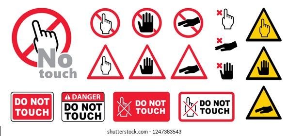 Do not touch vector sign icon Prohibition Forbid hand do not enter danger warning attention stop sign set no entry no touch restricted access round red sign not allowed beware  safety first Caution