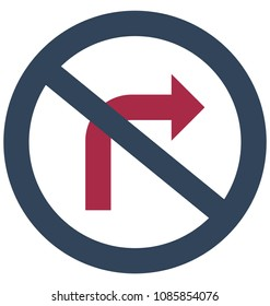 Do Not Turn Right Isolated Vector Icon