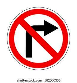 Do not turn right isolated illustration on red orders