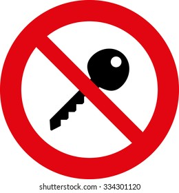 Do not use Key  Safety signs.Red circle prohibition sign. Stop flat symbol. Vector.