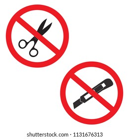 Do not use scissors and cutter knife icon set prohibition sign symbols vector illustration isolated on white background.Forbidden,Stop,ban in circle red.