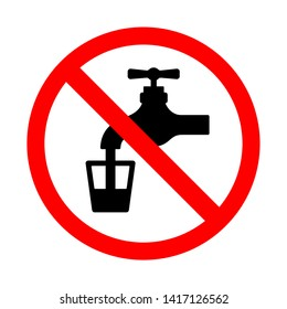 Do not use water sign. Bright warning, restriction sign on a white background. Vector illustration of a collection of prohibition signs