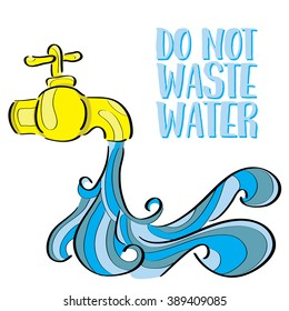 Do Not Waste Water Illustration