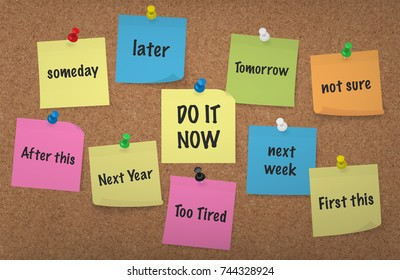 Do it Now, procrastination Concept: Adhesive Notes with push pins Cork Board Background, multi colored vector illustration