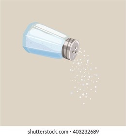 Do pour salt from salt shaker. Baking and cooking ingredient. Cartoon vector illustration food seasoning. Kitchen utensils