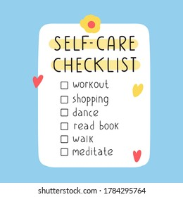 To do self-care checklist. Illustration on blue background.