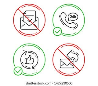 Do or Stop. 24h service, Approved mail and Refresh like icons simple set. Share mail sign. Call support, Confirmed document, Thumbs up counter. New e-mail. Technology set. Line 24h service do icon