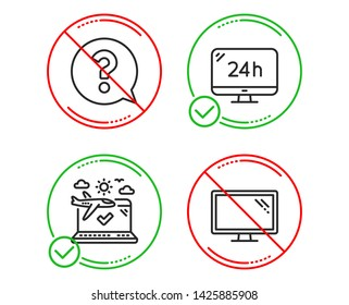 Do or Stop. 24h service, Question mark and Airplane travel icons simple set. Monitor sign. Call support, Help support, Check in. Computer component. Business set. Line 24h service do icon. Vector